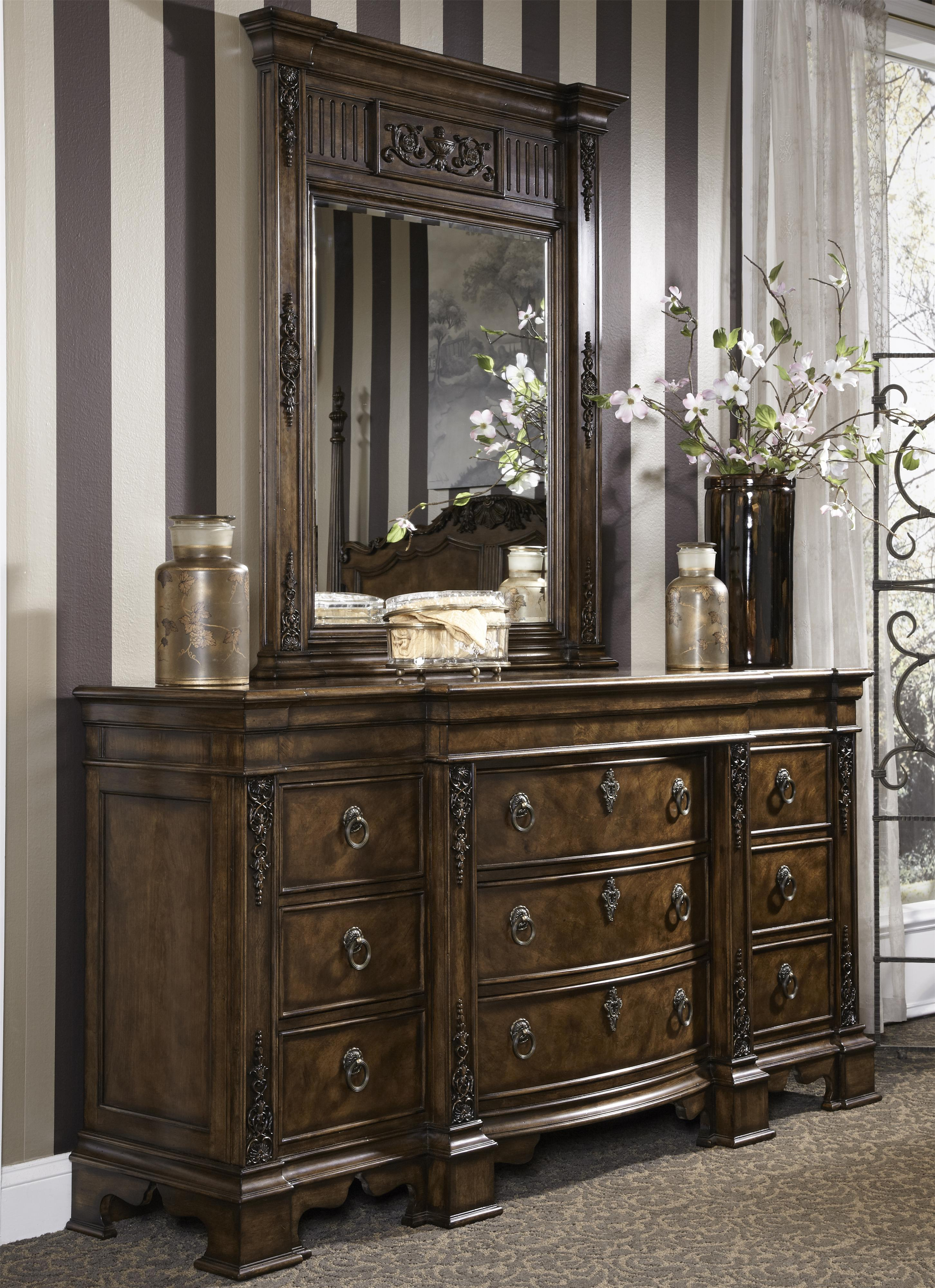 Traditional Antique Dresser Mirror Combo With Hidden Drawer