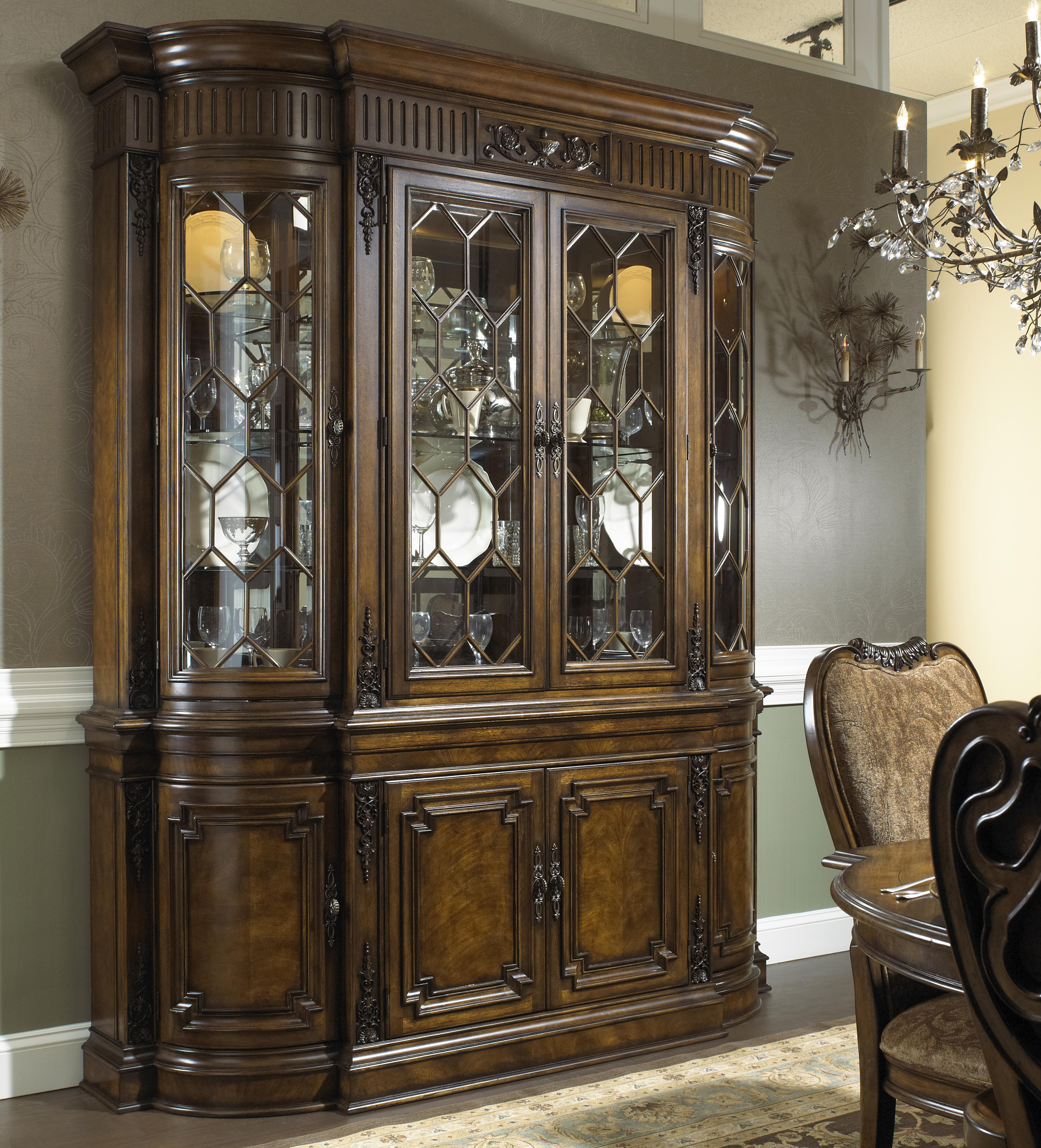 Fine Furniture Design Belvedere Formal Antique Style Break Front China Cabinet With Buffet Bottom Stuckey Cabinets