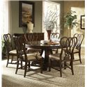 Belfort Signature Vienna Traditional Round Dining Table with Inlay - Shown with Sideboard, Ribbon-Back Side Chair and Arm Chair