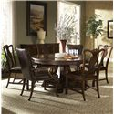 Belfort Signature Vienna Traditional Round Dining Table with Inlay - Shown with Sideboard, Splat Back Side Chair and Leather Upholstered Dining Arm Chair