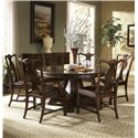 Fine Furniture Design Hyde Park Splat Back Arm Chair with Leather Seat - Shown with Round Dining Table, Splat Back Side Chair, and Breakfront China Buffet