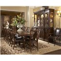 Fine Furniture Design Hyde Park Splat Back Arm Chair with Leather Seat - Shown with Double Pedestal Dining Table, Splat Back Side Chair, and Breakfront China Buffet with Deck