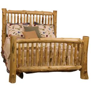 Fireside Lodge 10041 Queen Small Spindle Log Bed with Hand Peeled Logs