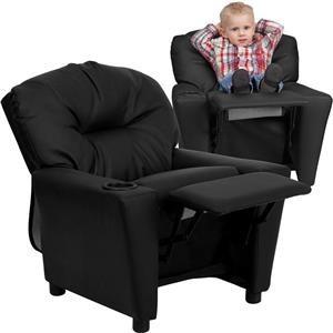 Flash Furniture Kids Recliner With 1 Cup Holder Black Leather Kids Recliner