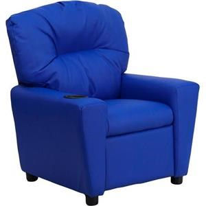 Flash Furniture Kids Recliner With 1 Cup Holder Blue Vinyl Kids Recliner