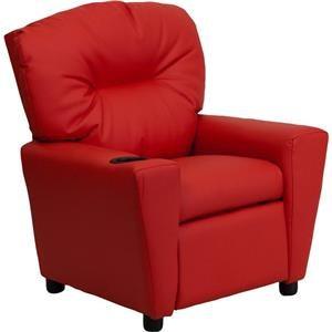 Flash Furniture Kids Recliner With 1 Cup Holder Red Vinyl Kids Recliner