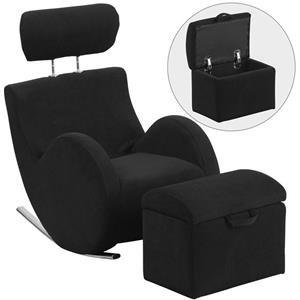 Flash Furniture Kids Rocking Chair With Storage Ottoman Black Fabric Kids  Rocking Chair