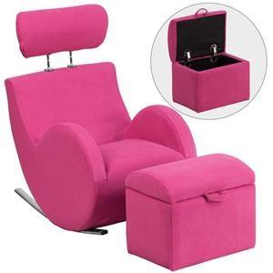 Flash Furniture Kids Rocking Chair With Storage Ottoman Pink Fabric Kids  Rocking Chair