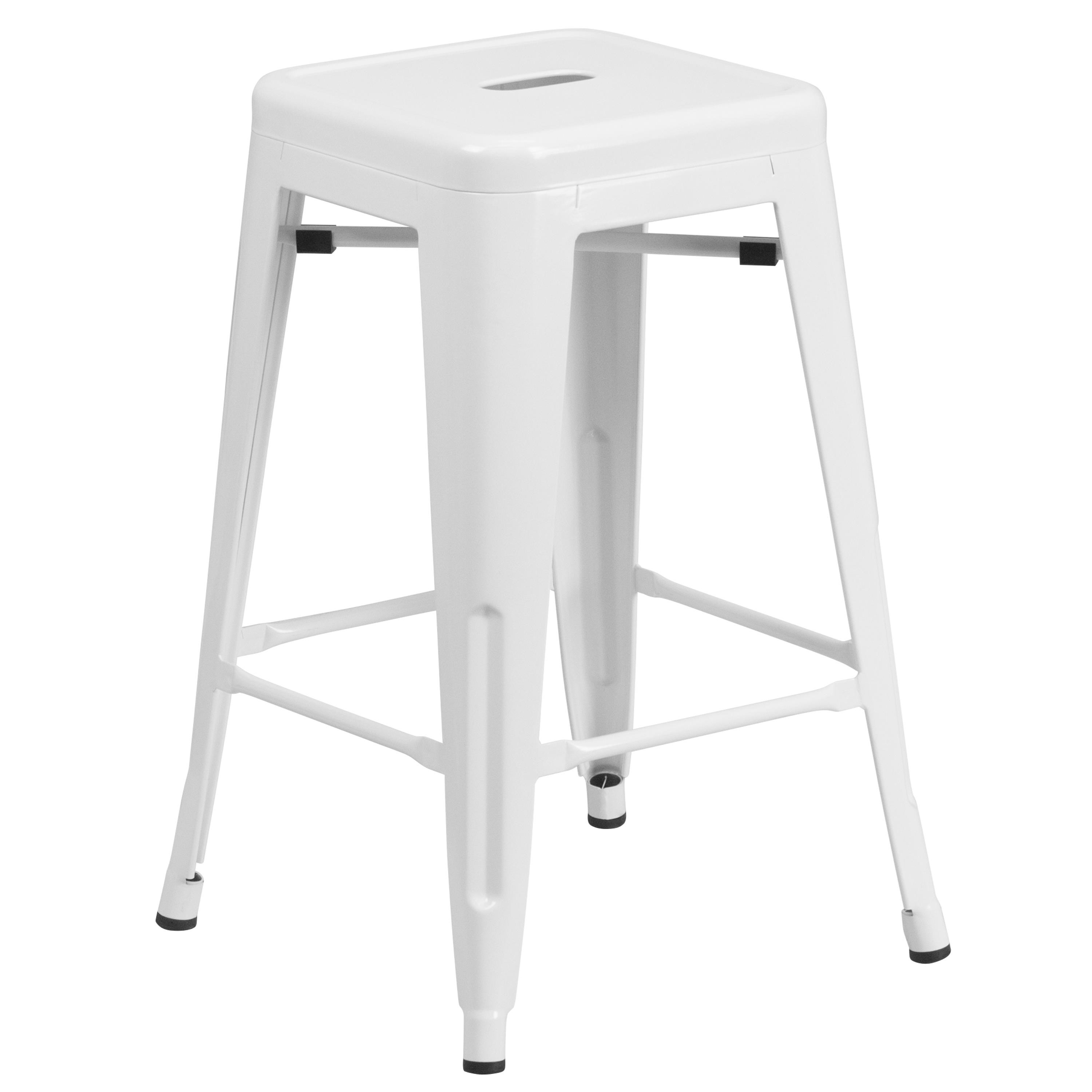 """Flash Furniture Back less Stool 24"""" wHITE sTOOL - Item Number: CH-31320-24-WW-GG"""
