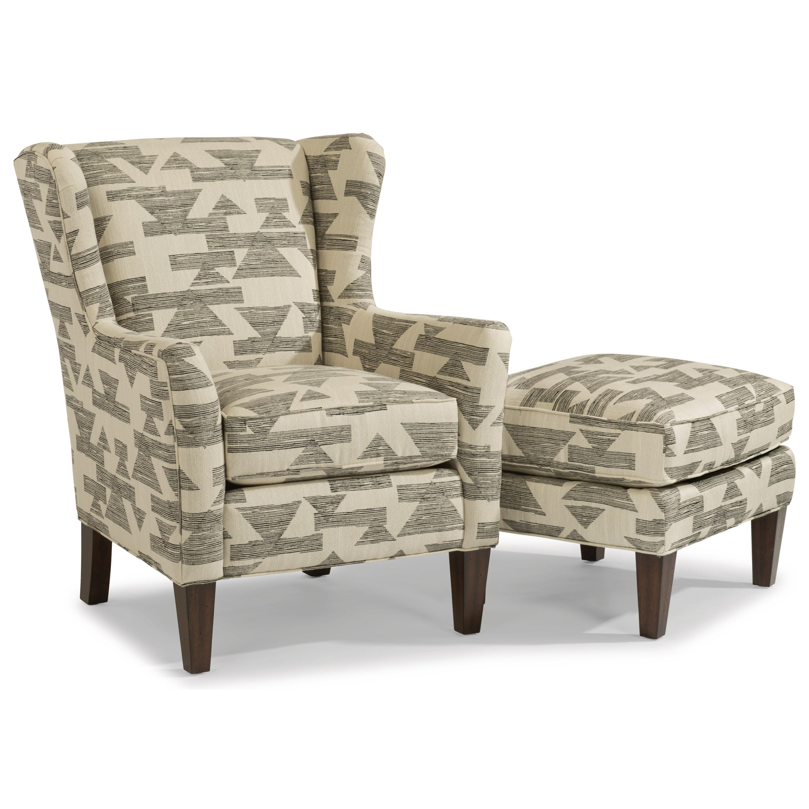 Flexsteel Ace Transitional Wing Chair With Tall Tapered