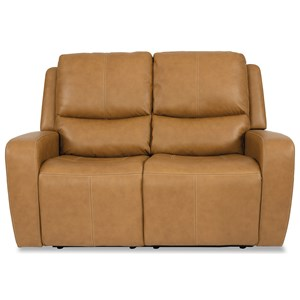 Transitional Power Reclining Loveseat with Power Headrests