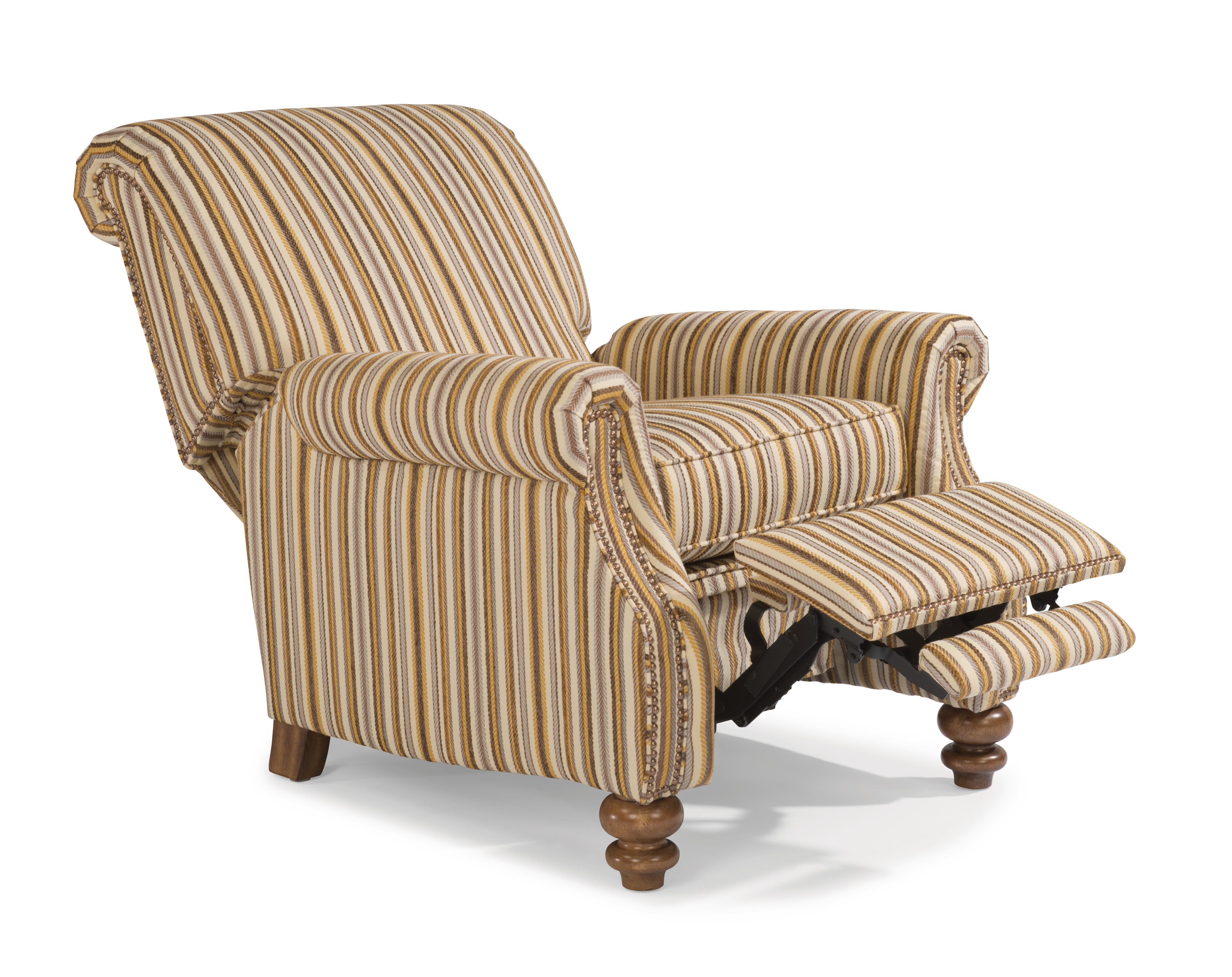 Flexsteel Bay Bridge Traditional High Leg Recliner With Rolled Back Fashion Furniture High
