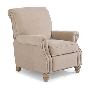 Traditional High Leg Recliner with Rolled Back