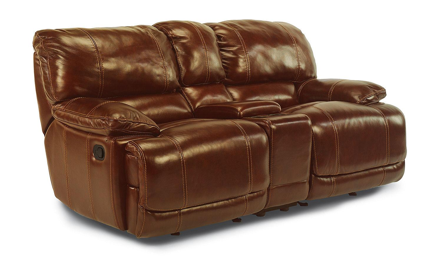Flexsteel Latitudes - Belmont Power Dual Reclining Love Seat with Console - Item Number: 1250-604P-794-76