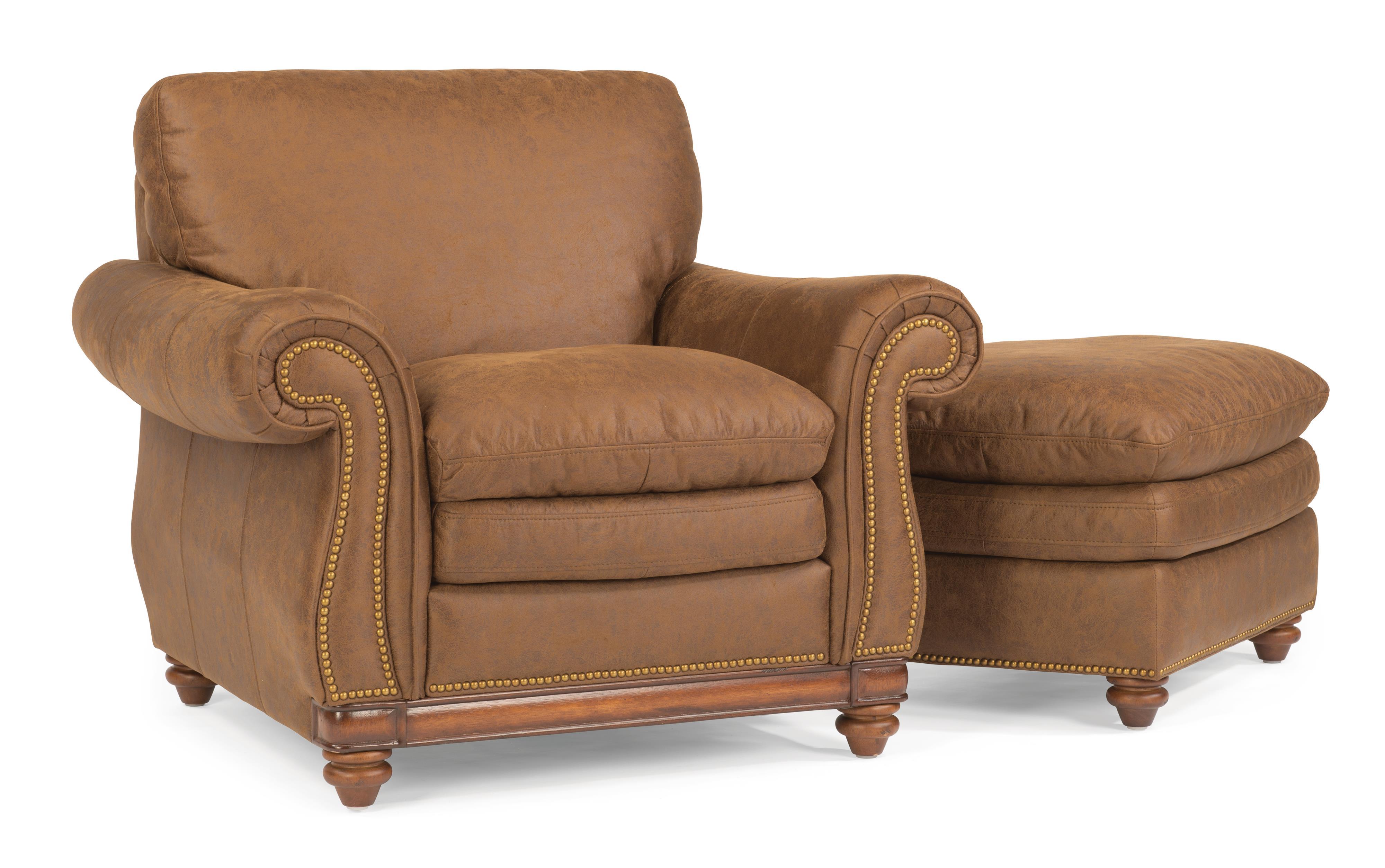 Flexsteel Belvedere Chair and Ottoman - Item Number: 1605-10+1605-08