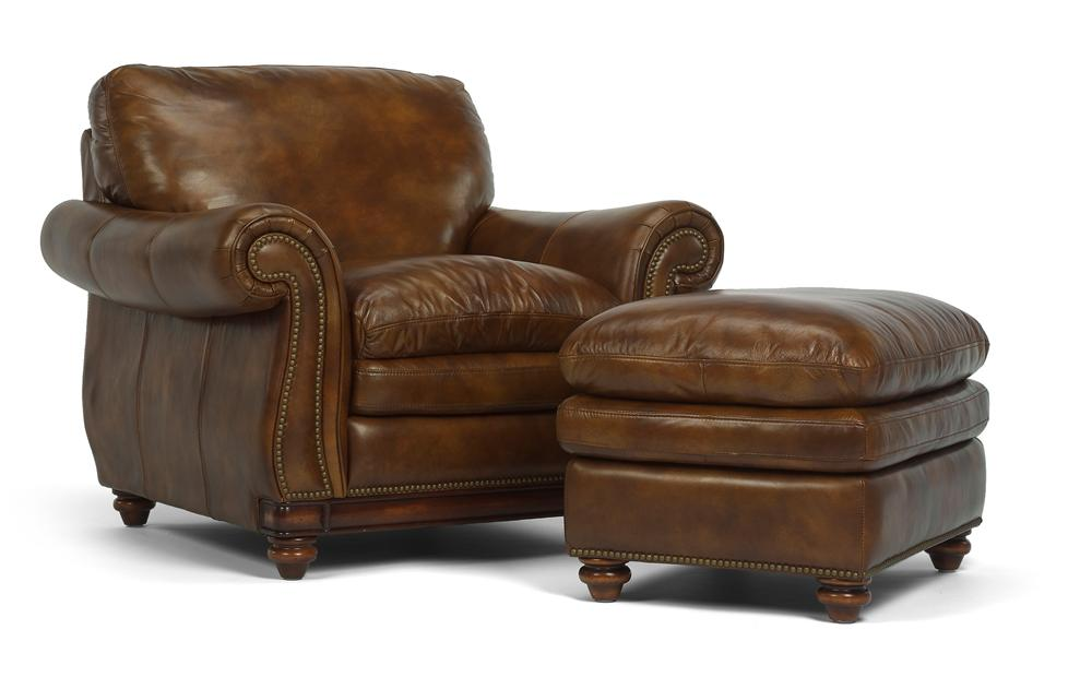 Beau Latitudes   Belvedere Traditional Leather Chair And Ottoman With Nail Head  Trim By Flexsteel