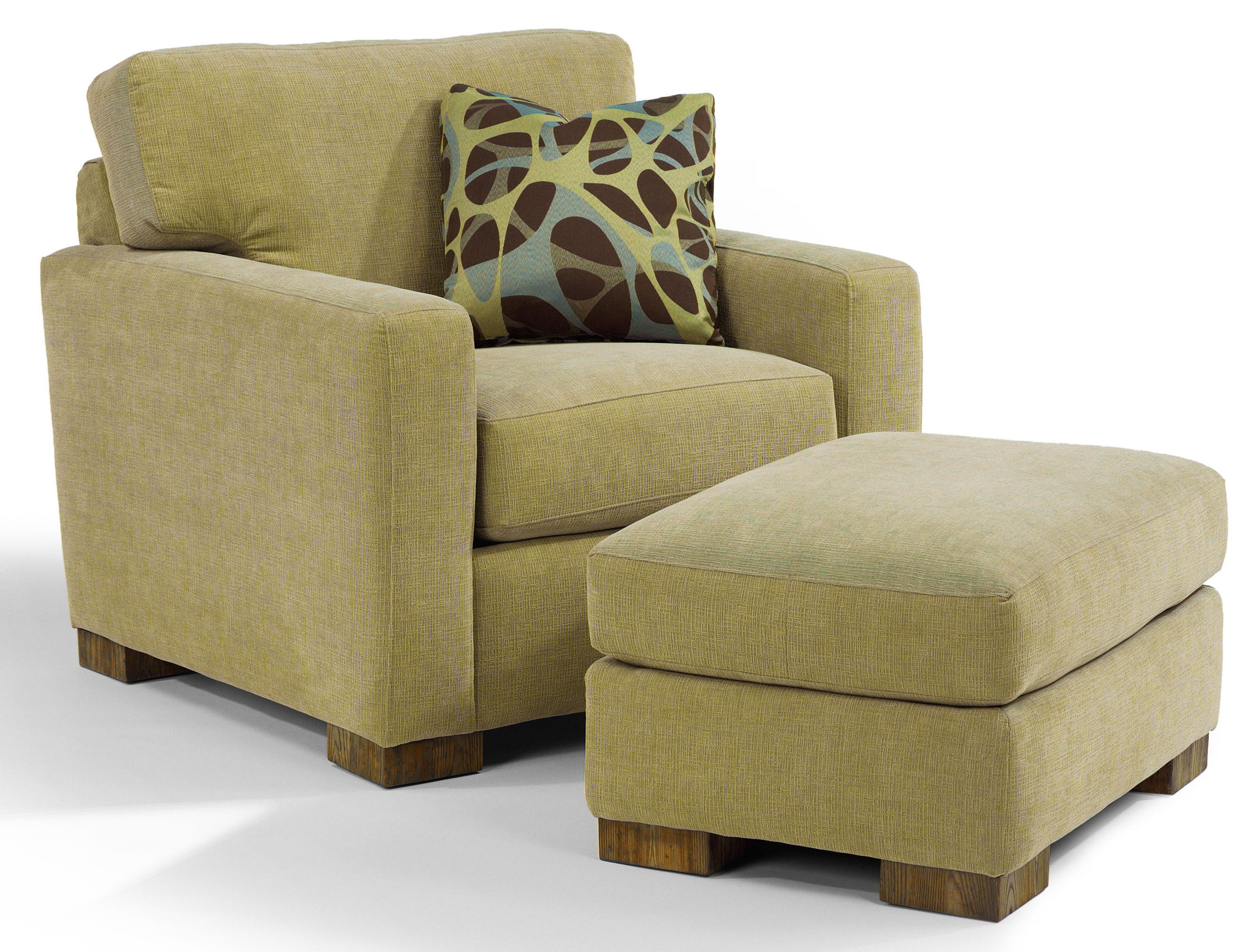 Flexsteel Bryant 7399 08 Contemporary Ottoman With Block Wood Feet John V Schultz Furniture