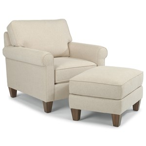 Flexsteel Calvin Chair and Ottoman Set