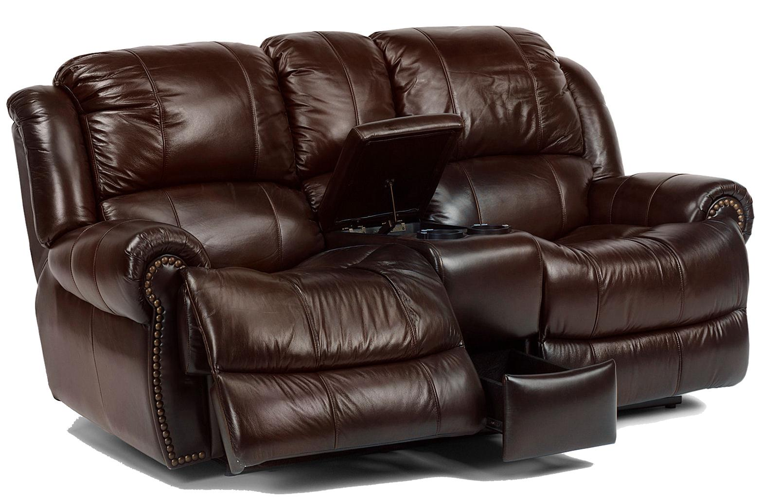 Flexsteel Latitudes - Capitol Power Love Seat with Console - Item Number: 1311-604P