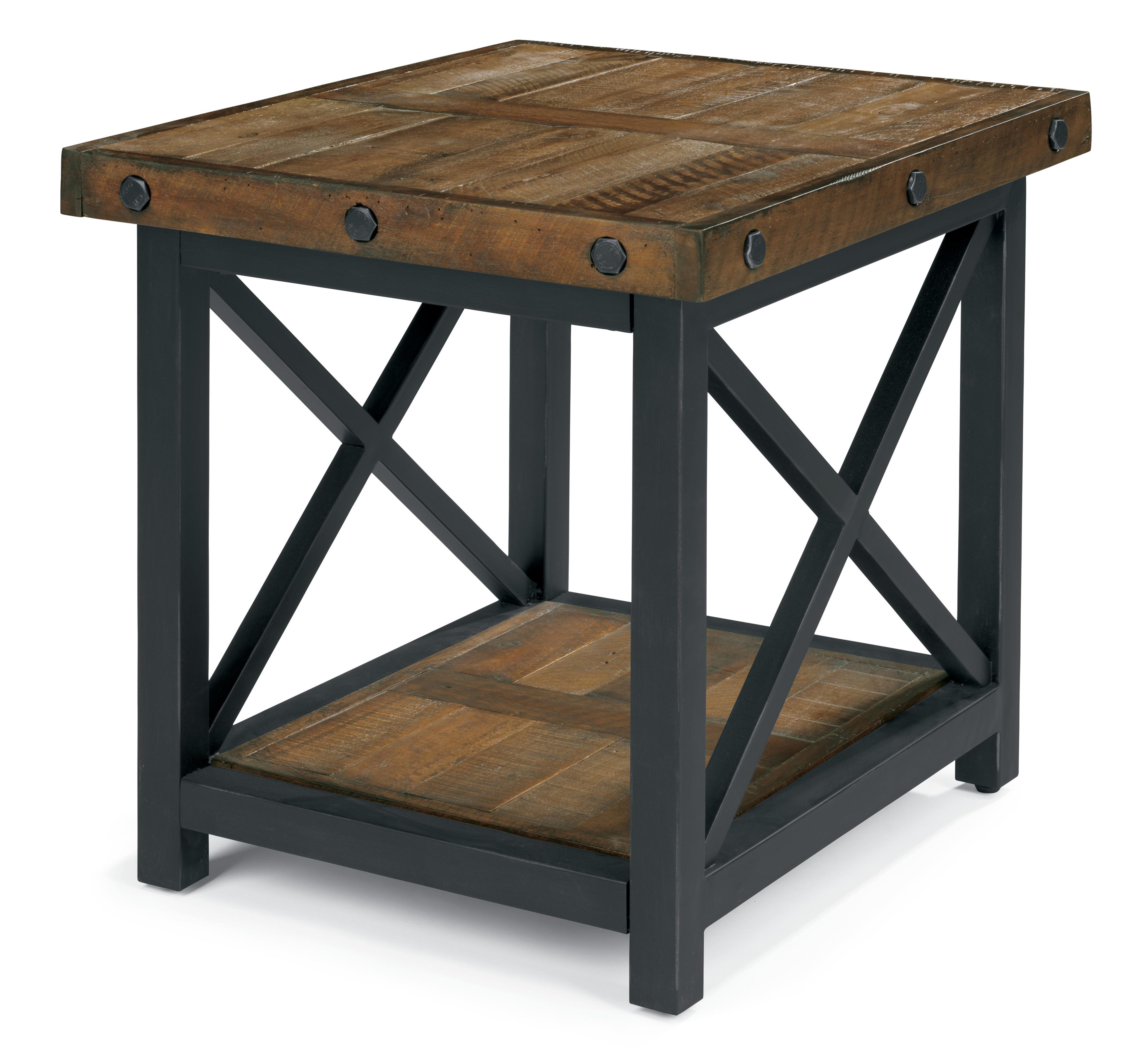 Carpenter rectangle end table with metal base by flexsteel