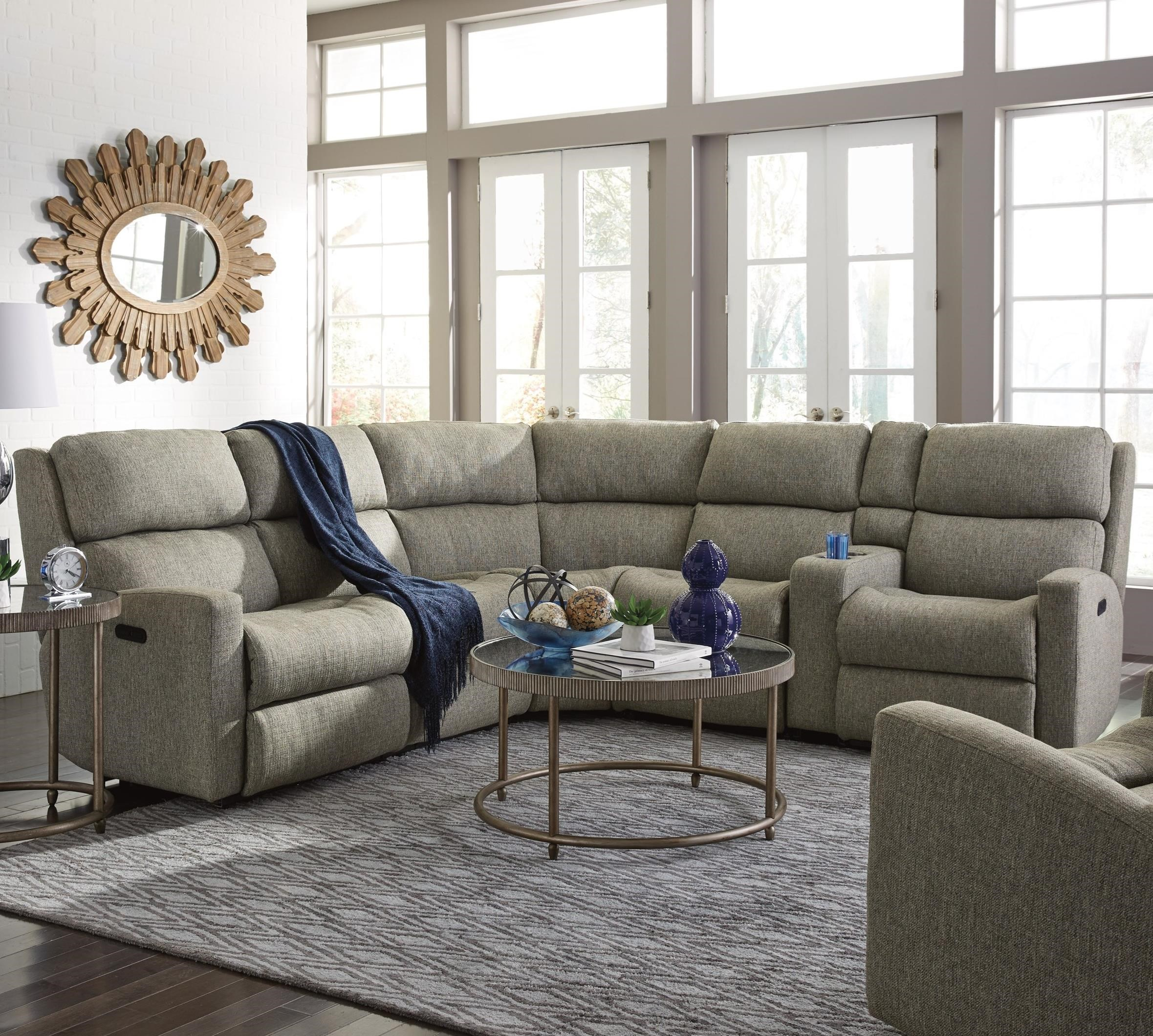 Flexsteel Catalina 6 Pc Reclining Sectional w/ Pwr Headrests - Item Number: 2900-57H+59H+23+19+72+58H