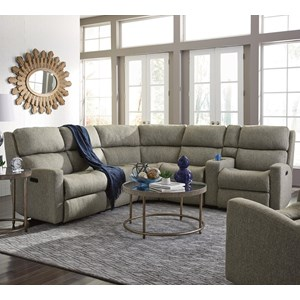Flexsteel Catalina 6 Pc Reclining Sectional w/ Pwr Headrests