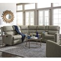 Flexsteel Catalina 6 Pc Reclining Sectional w/ Pwr Headrests - Item Number: 2900-57H+59+23+19+72+58H
