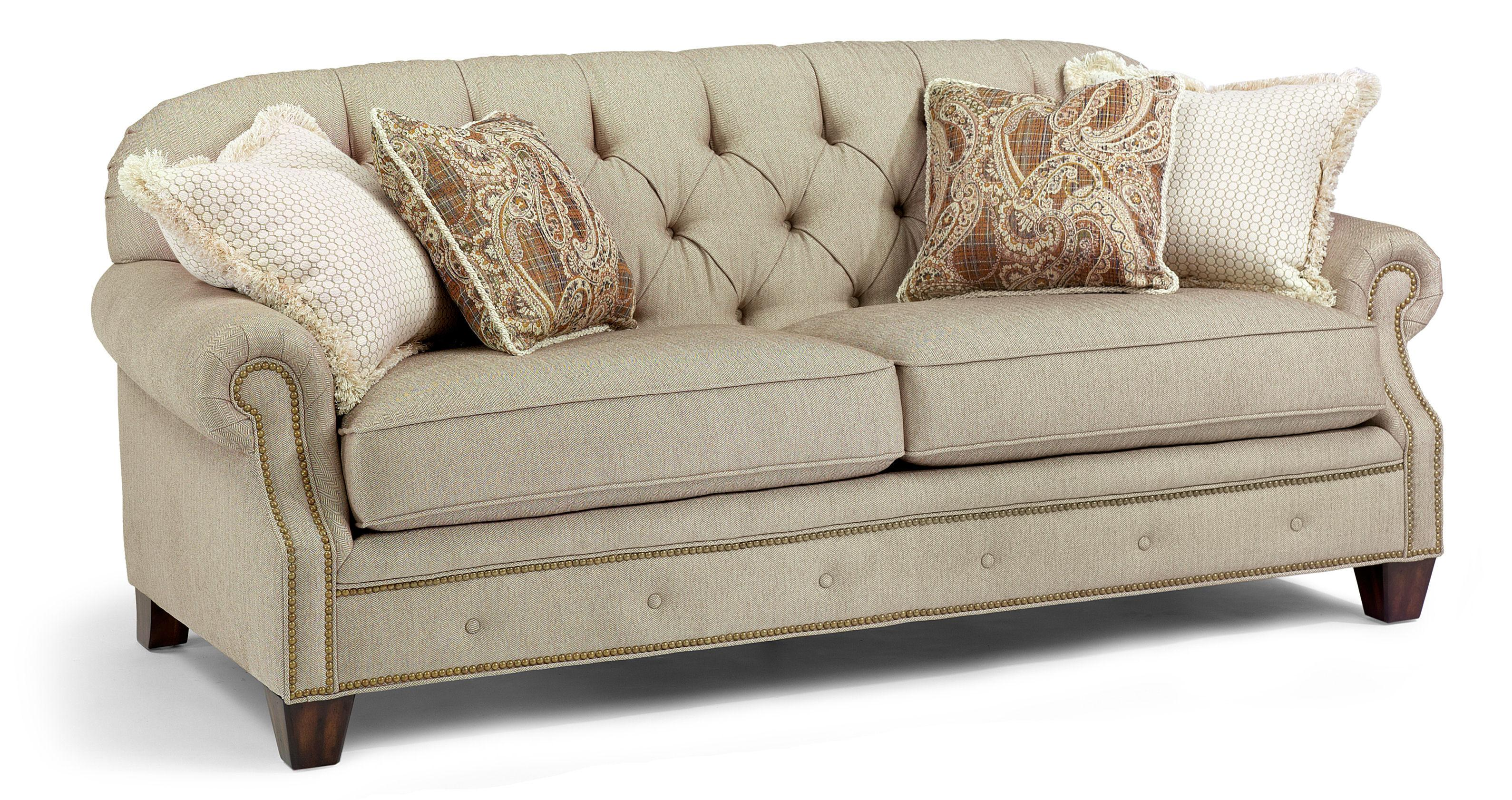 Flexsteel Champion Transitional On Tufted Sofa With Rolled Arms And Nailheads