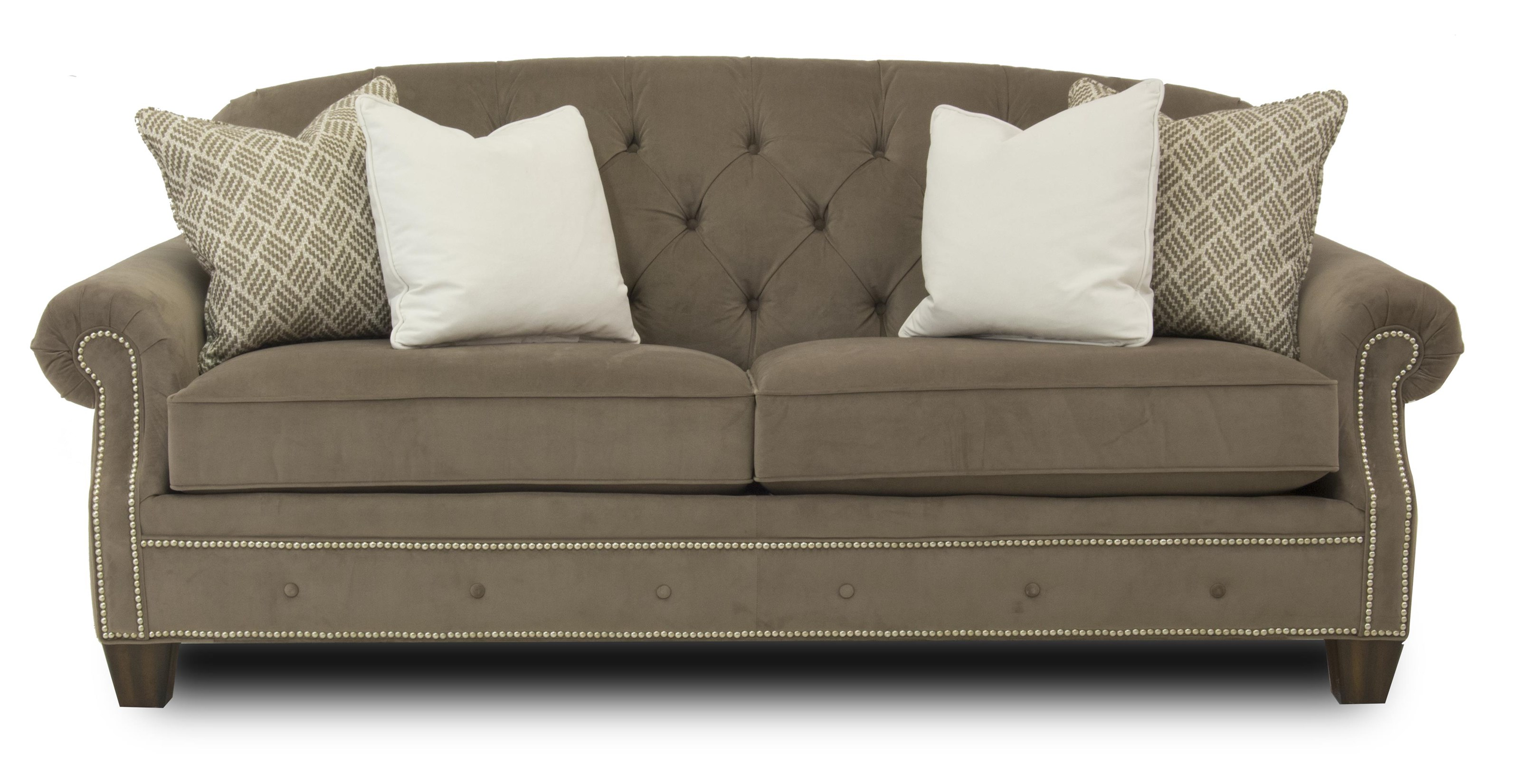 Transitional On Tufted Sofa With Rolled Arms And Nailheads