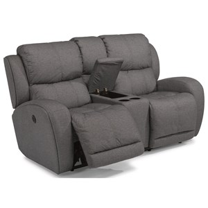 Flexsteel Latitudes - Chaz Power Reclining Love Seat with Console