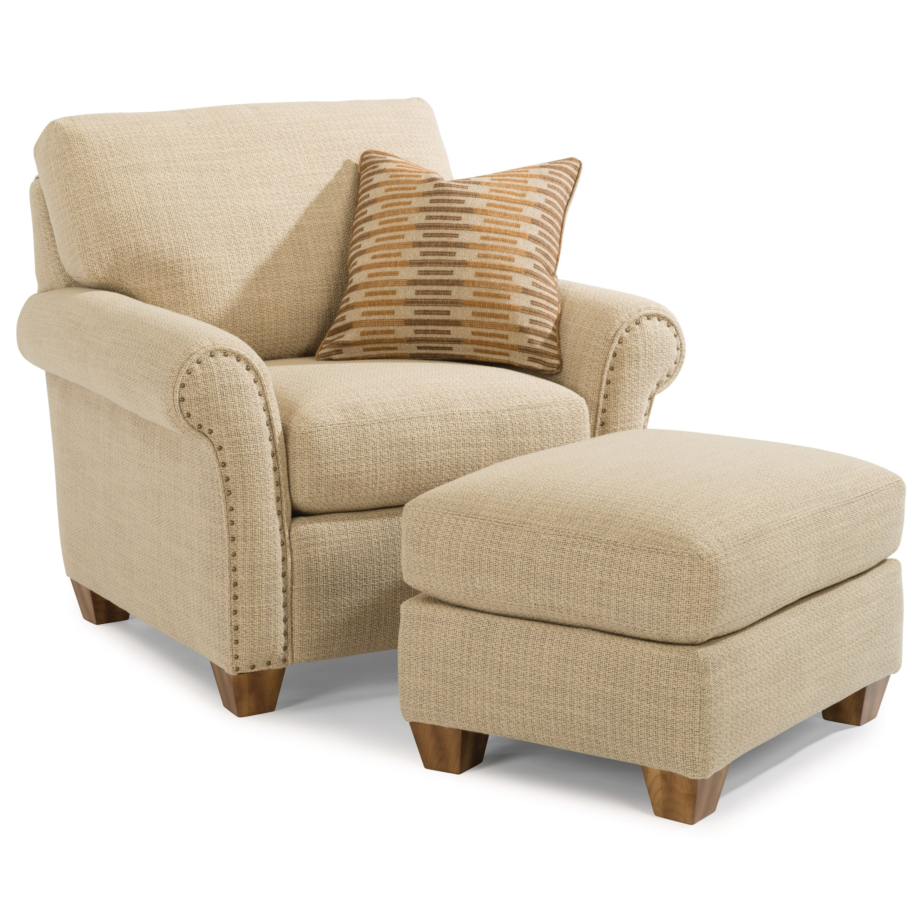 Flexsteel Christine Rolled Arm Chair and Ottoman Set with Nailhead