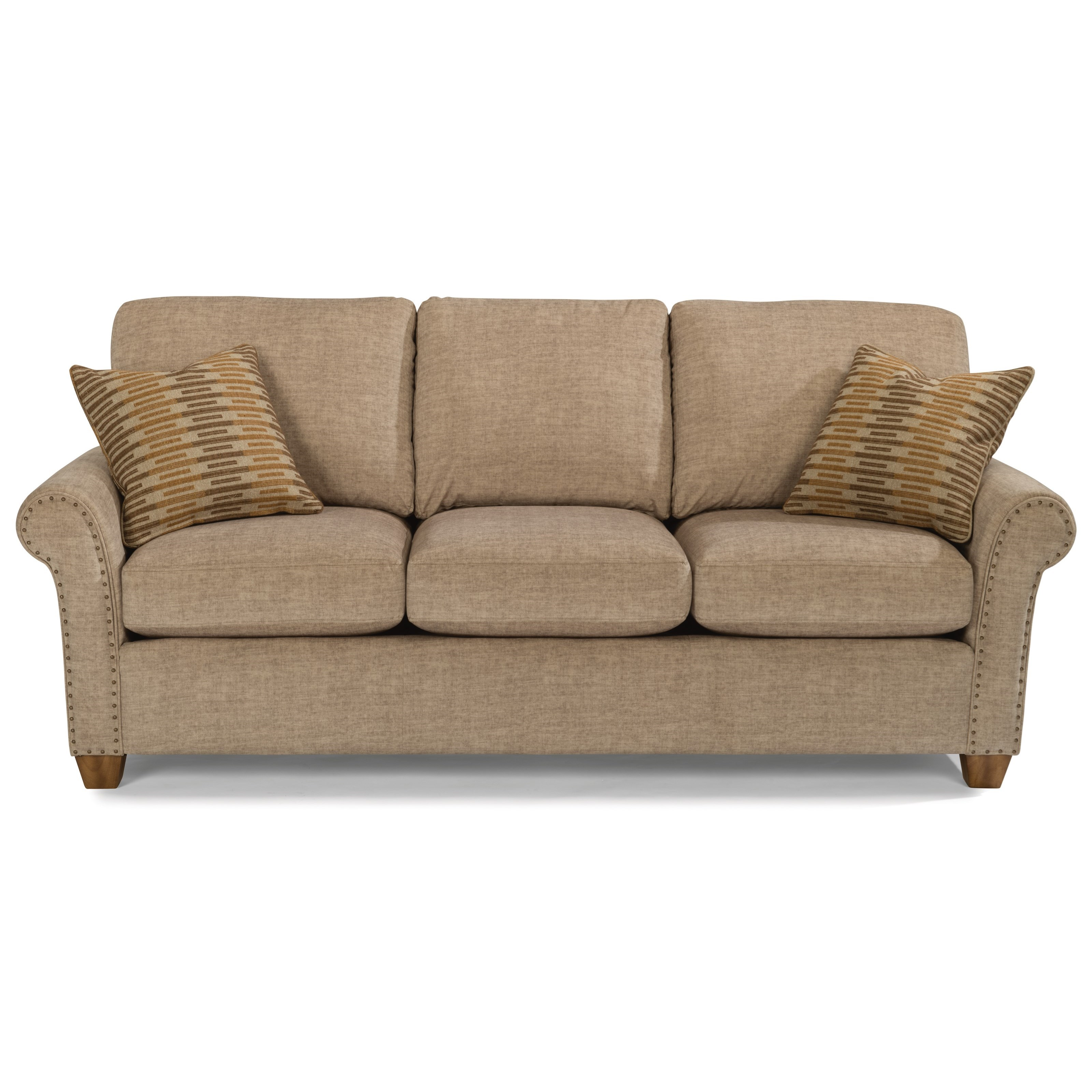Flexsteel Christine Rolled Arm Sofa with Nailhead Studs
