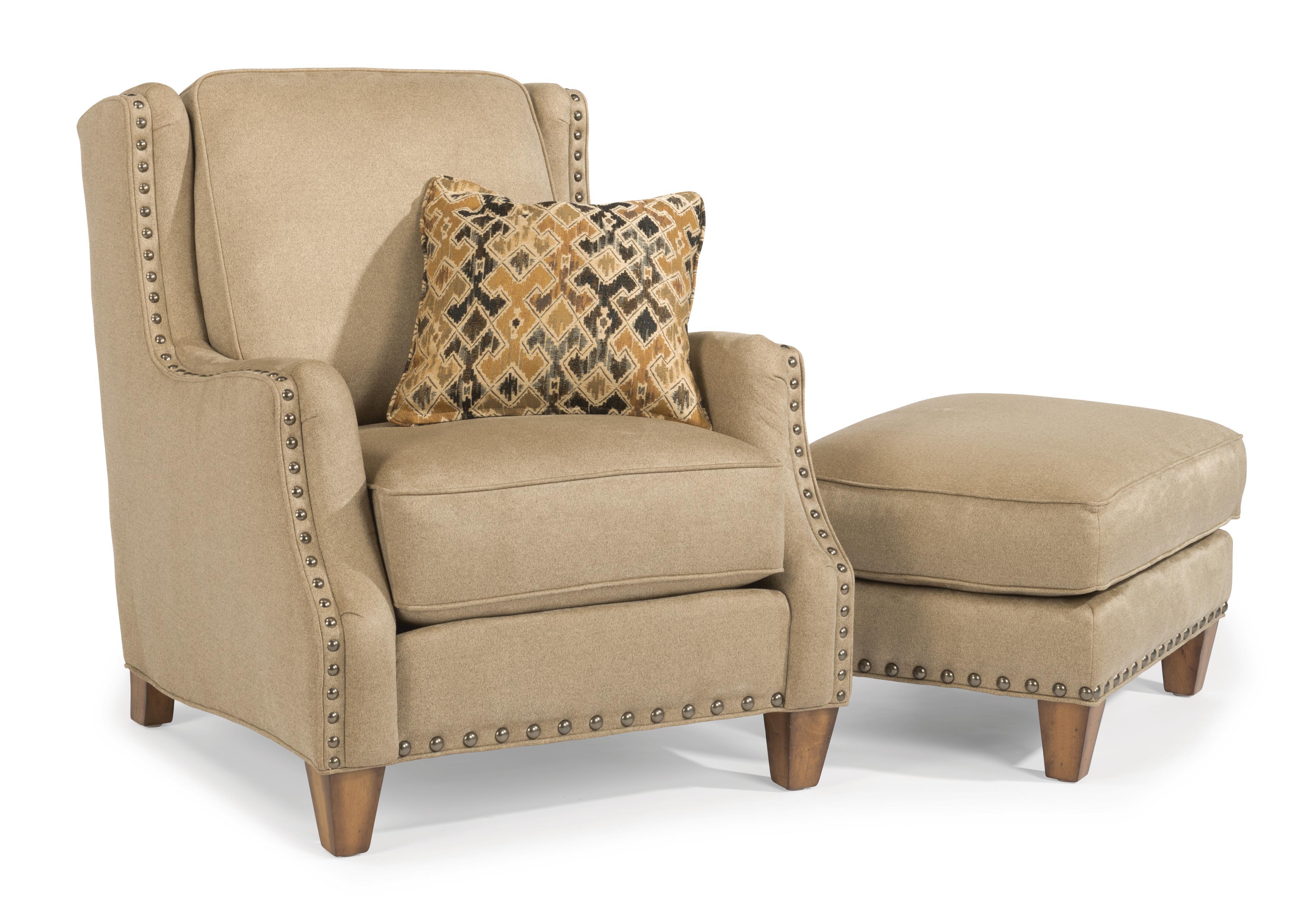 Flexsteel Conrad Chair & Ottoman Set - Item Number: 7813-10+7813-08-920-80