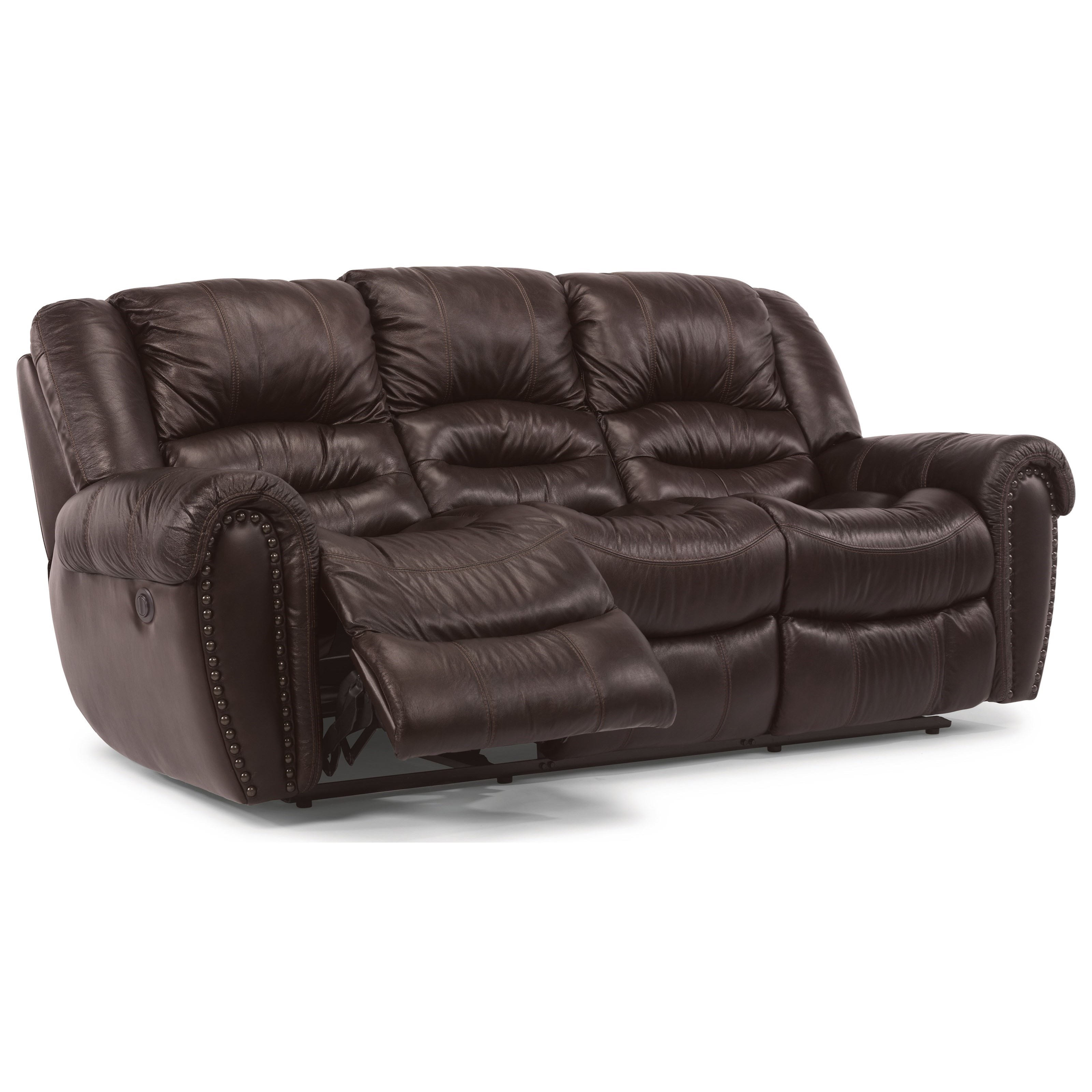 Leather Match Reclining Sofa