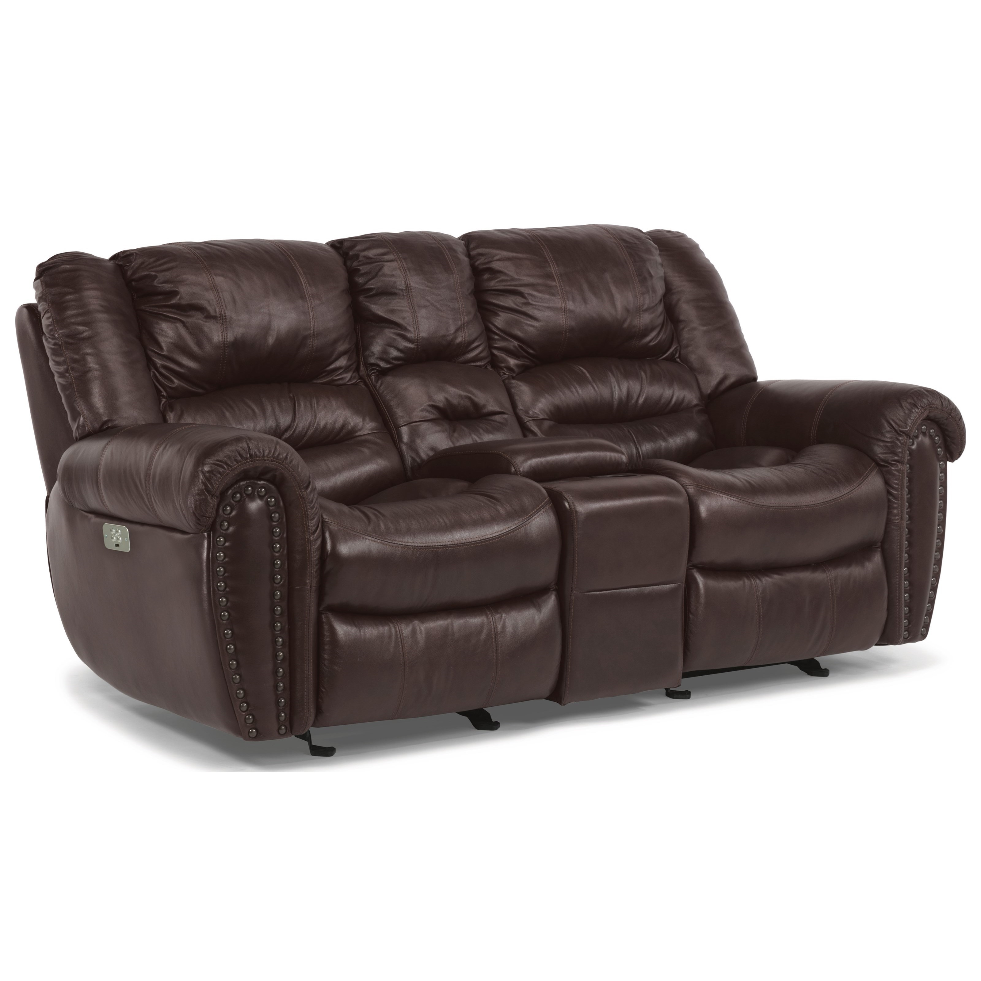 Latitudes - Town Power Reclining Console Love Seat by Flexsteel at Johnny Janosik