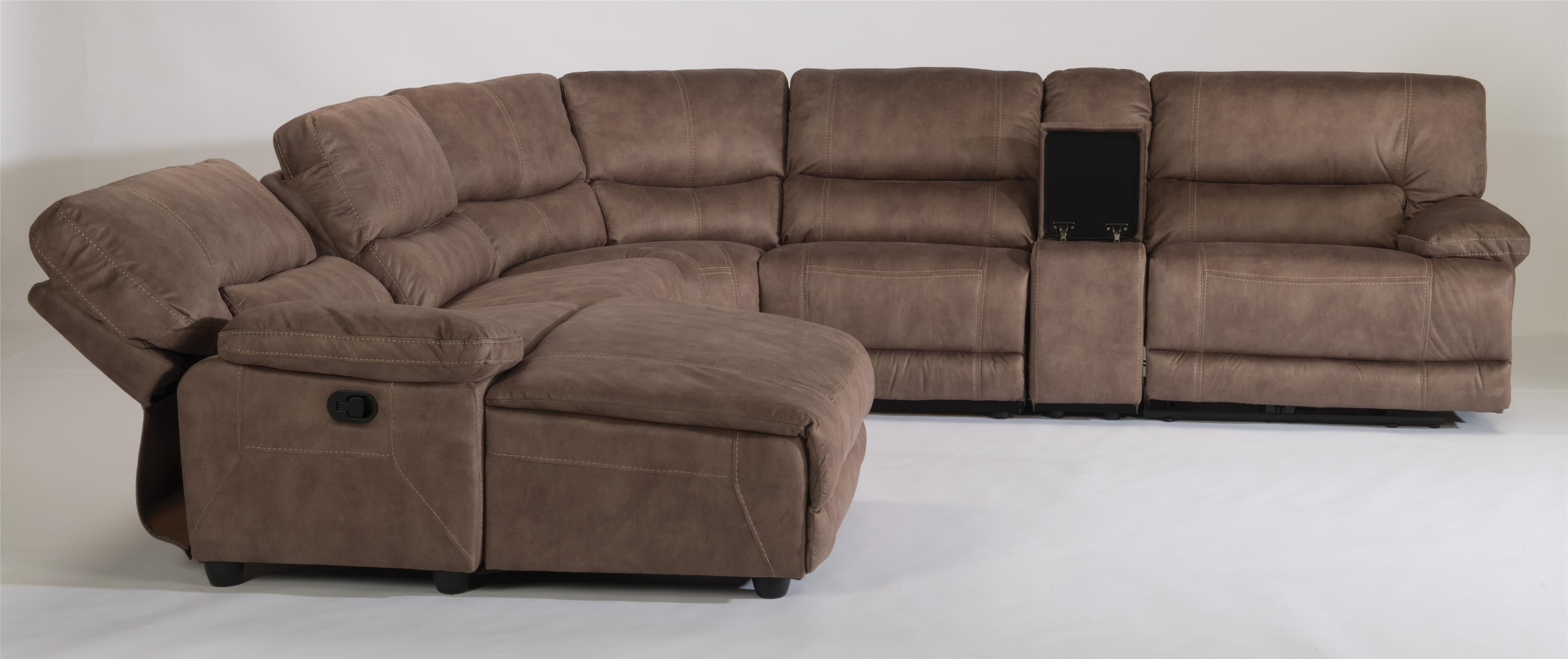 Flexsteel Latitudes Delia Six Piece Power Reclining Sectional Sofa With Laf Chaise Reeds