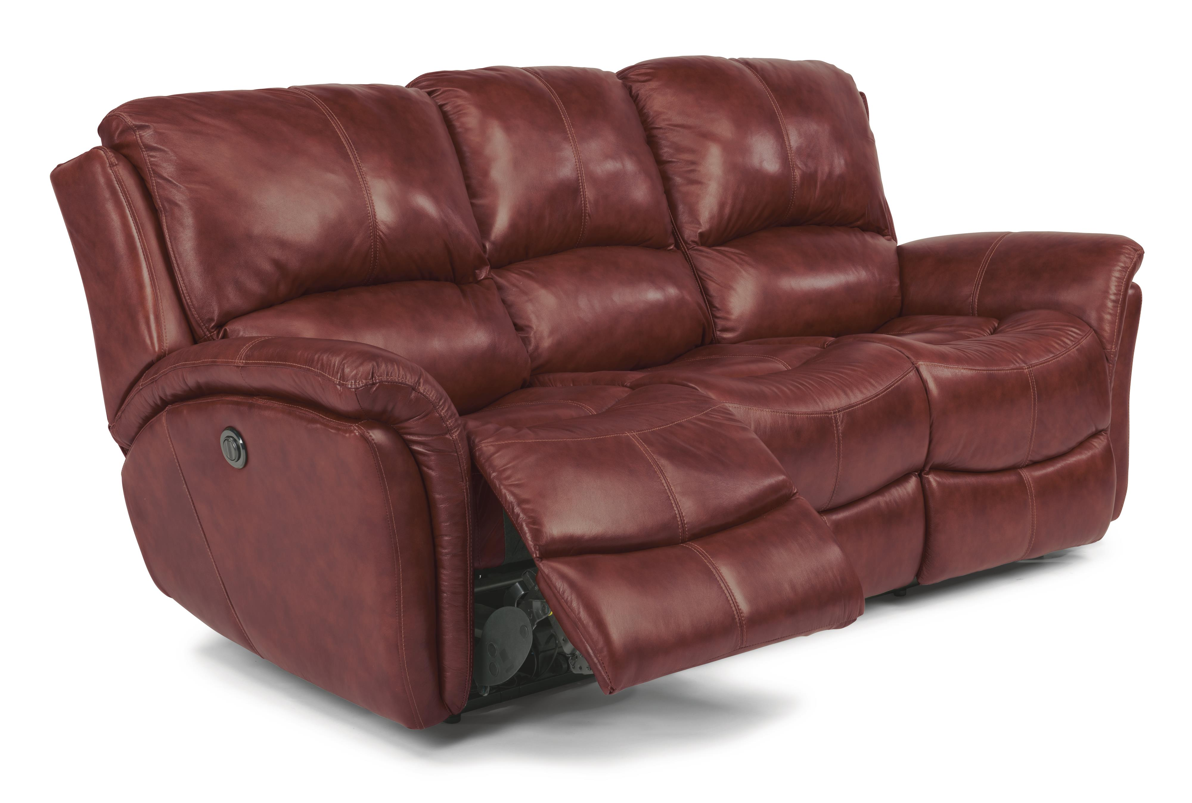 Flexsteel Dominique Casual Reclining Sofa with Power Motion and ...