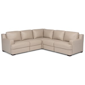 Contemporary 5-Piece Adjustable Back Sectional with Ottoman