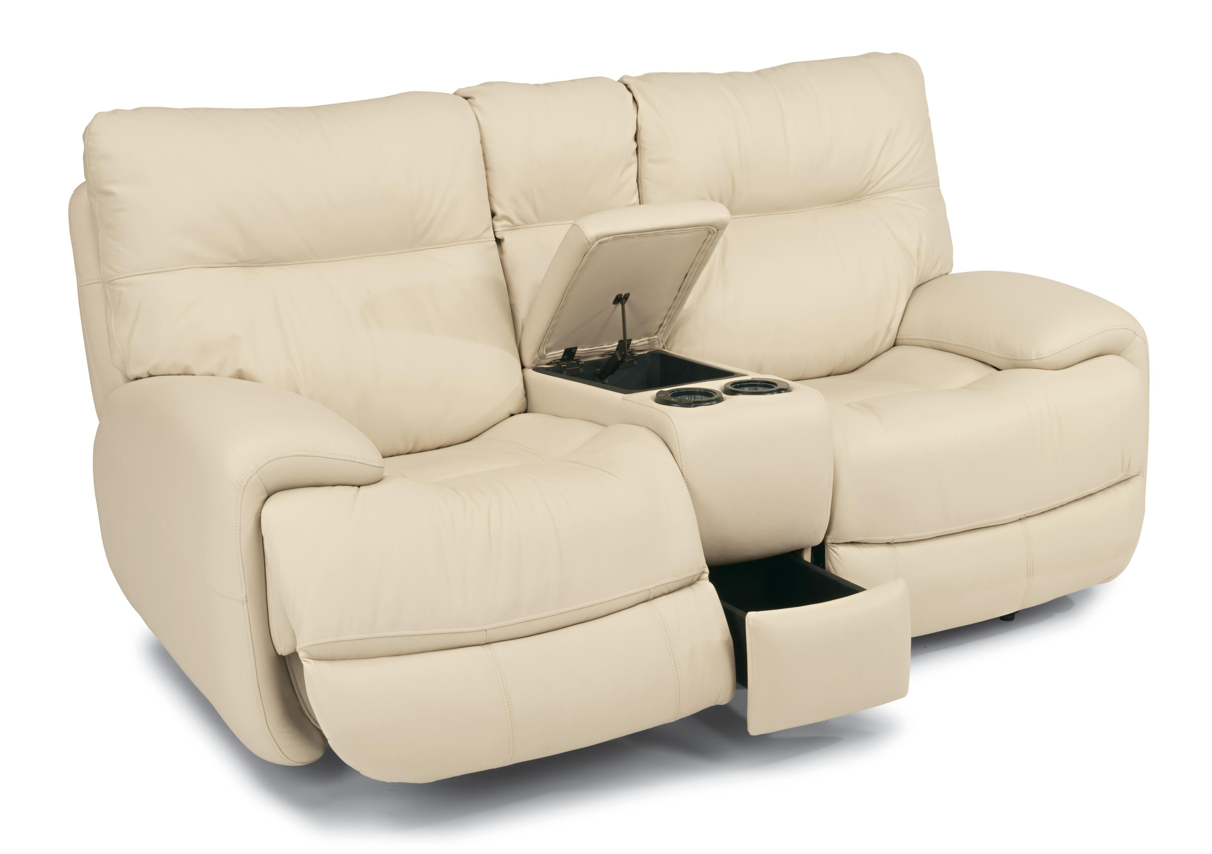 Flexsteel Latitudes - Evian Power Love Seat with Console - Item Number: 1447-604P-675-12