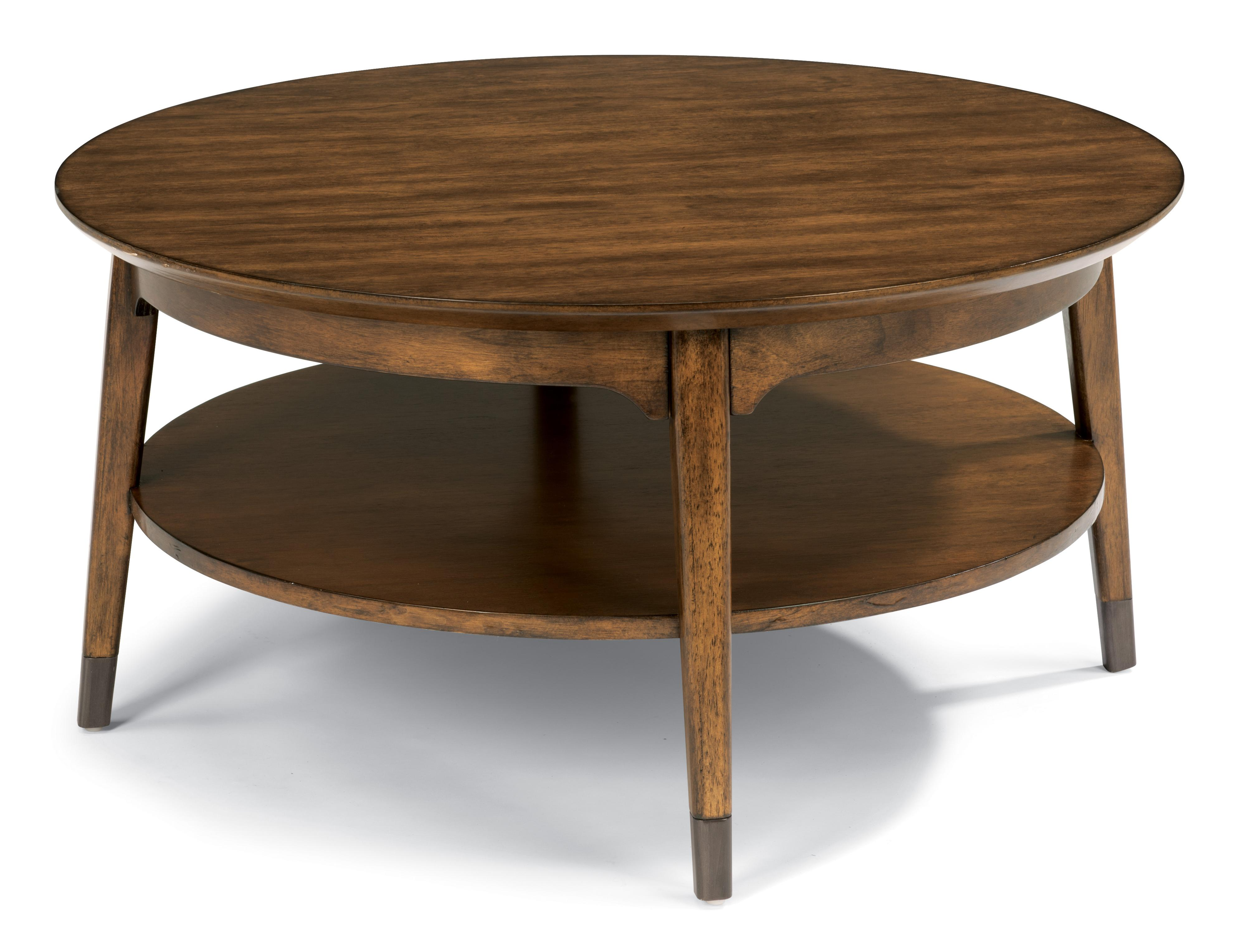 Flexsteel Gemini Mid Century Round Cocktail Table With Aged Metal Leg Caps Belfort Furniture