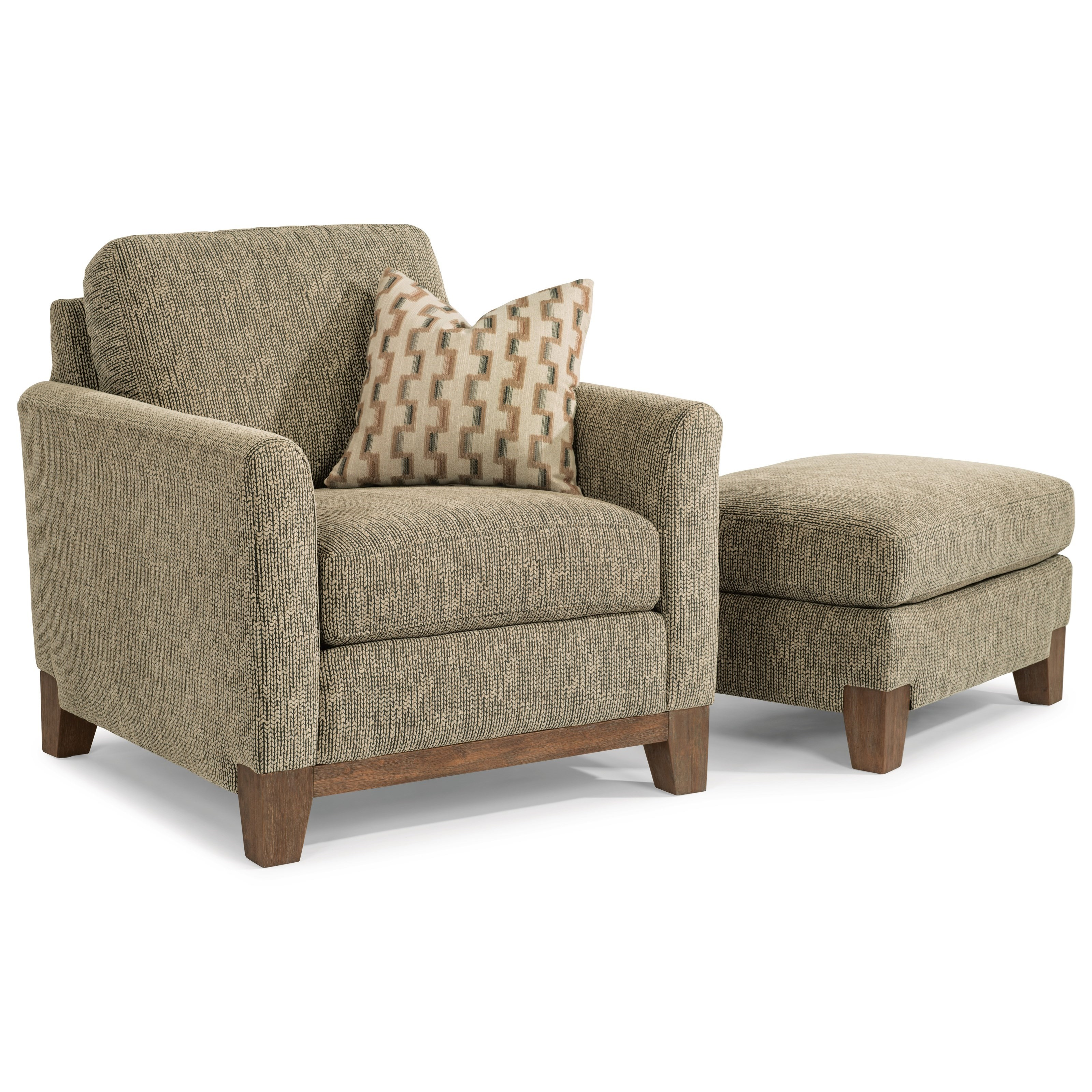 Flexsteel Hampton Transitional Chair And Ottoman Set With