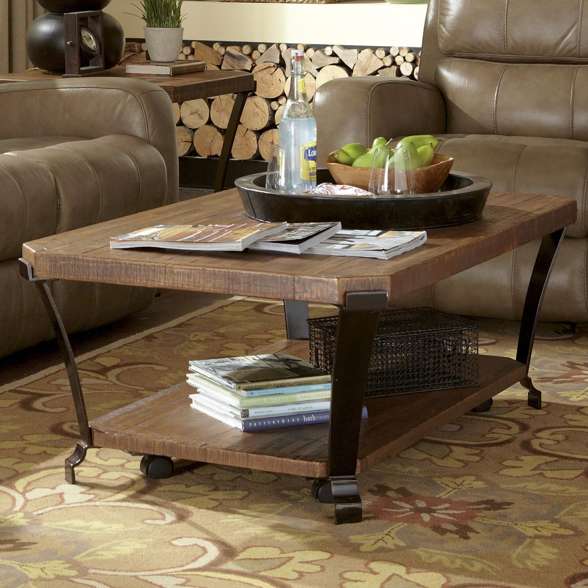 Flexsteel Kenwood Rectangular Cocktail Table With Casters Fashion Furniture Cocktail Or