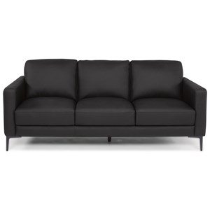 Transitional Sofa with Track Arms and Thin Tapered Legs
