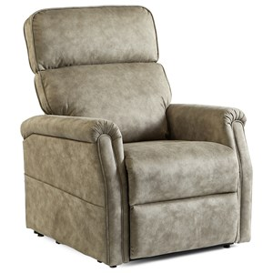 Transitional Power Lift Recliner with USB Port and Side Pocket