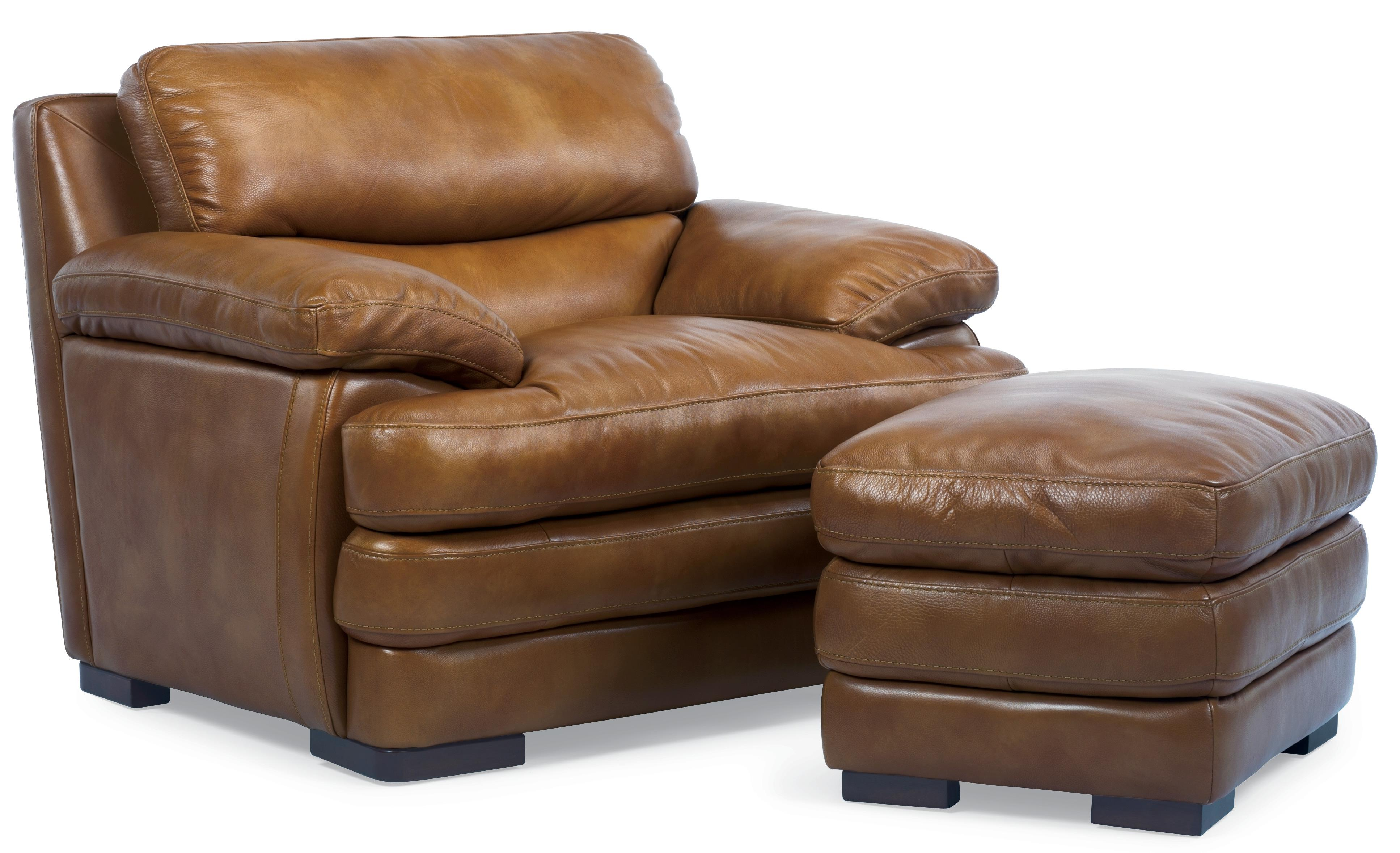 Flexsteel Latitudes - Dylan Leather Chair & Ottoman - Item Number: 1127-08+10-908-80