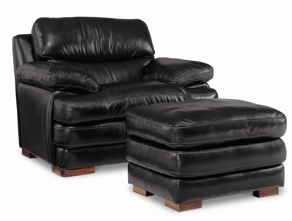 Flexsteel Latitudes - Dylan Leather Chair & Ottoman - Item Number: 1127-08+10