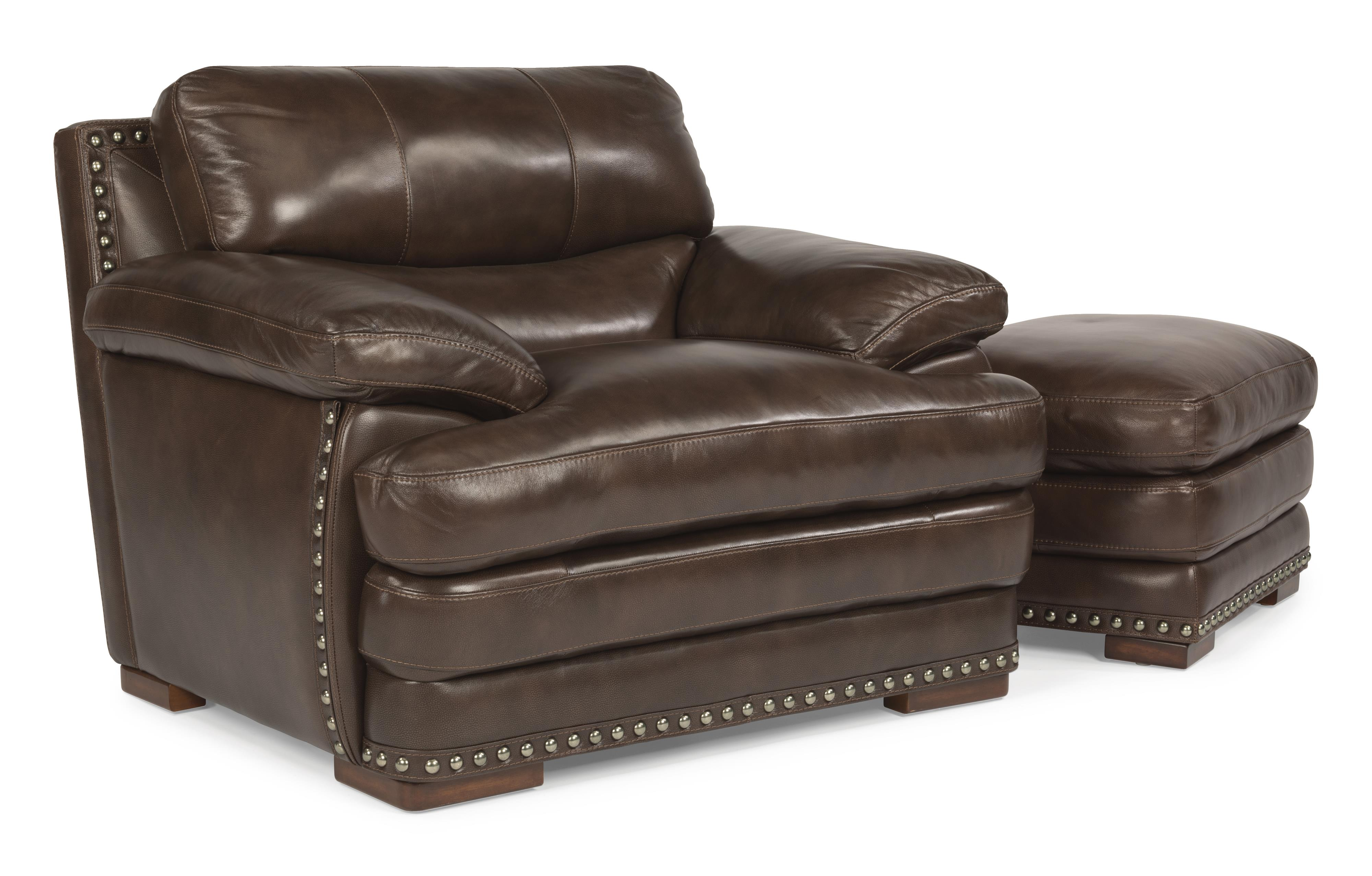 Flexsteel Latitudes Dylan Leather Chair & Ottoman with Nailhead