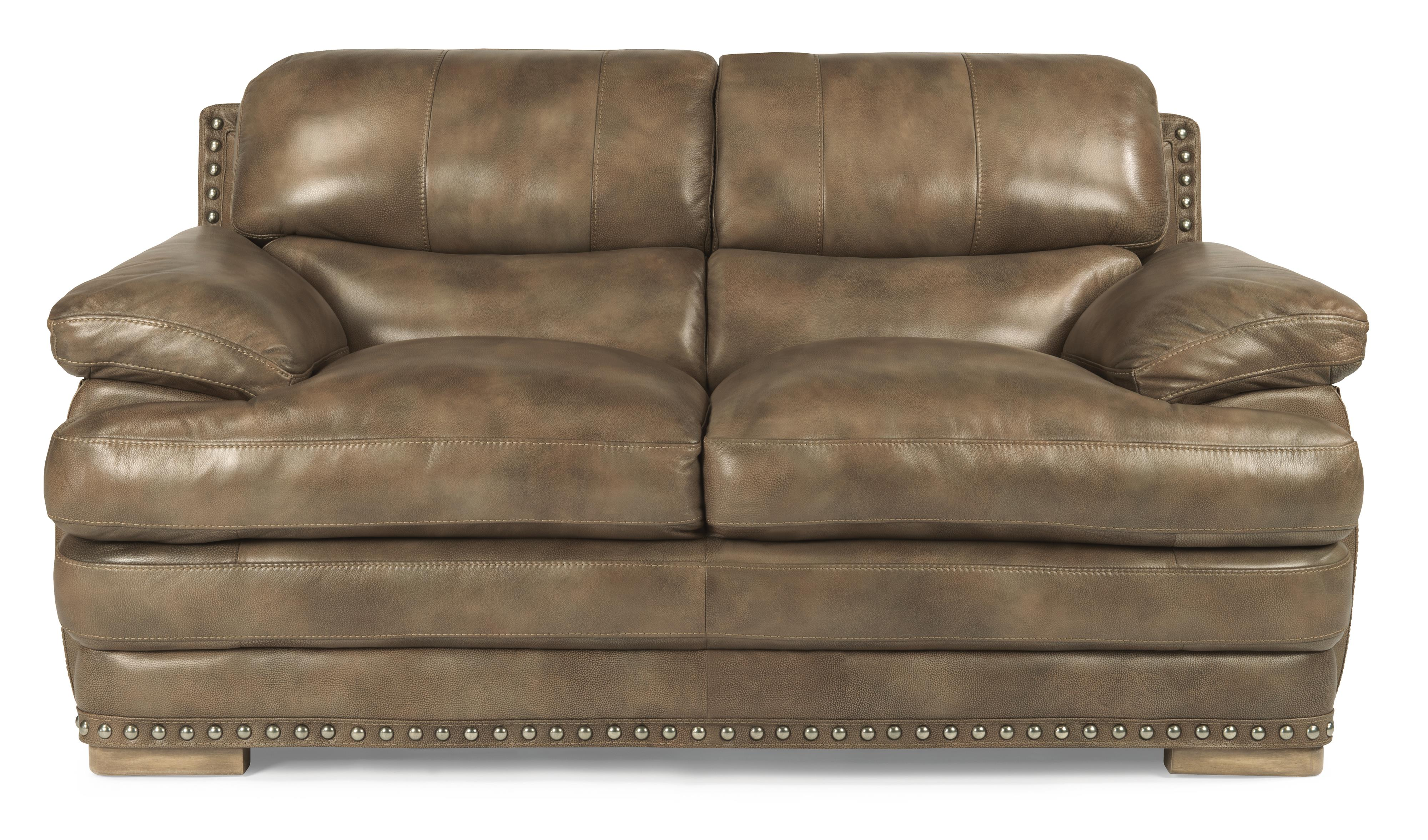 Flexsteel Latitudes - Dylan Leather Love Seat w/ Nailheads - Item Number: 1627-20-908-74
