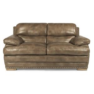 Flexsteel Latitudes - Dylan Leather Love Seat w/ Nailheads