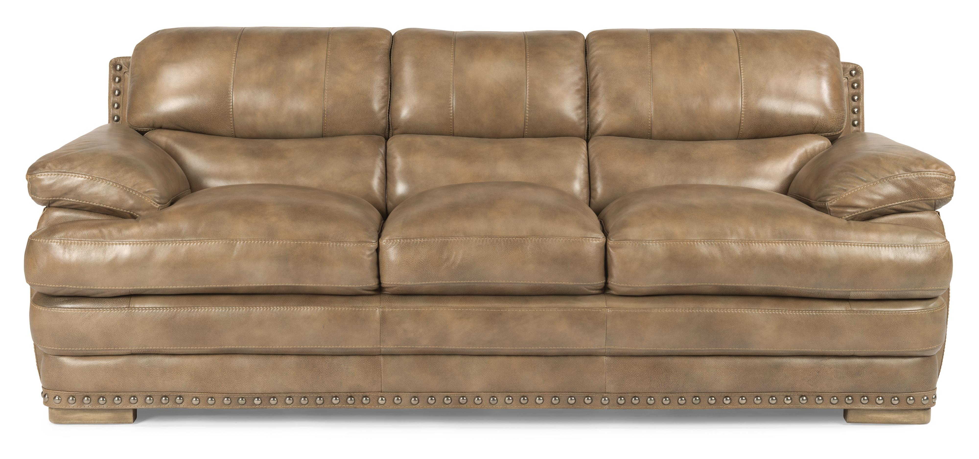 Flexsteel Latitudes Dylan 1627 31 Stationary Leather Sofa W  ~ Leather Sofa With Nailheads